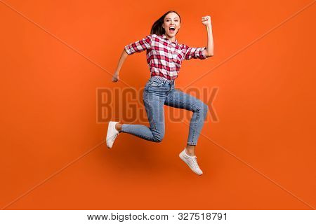 Full Size Length Body Photo Of Cheerful Rejoicing Delightful Ecstatic Girl Enjoying Leisure Free Tim