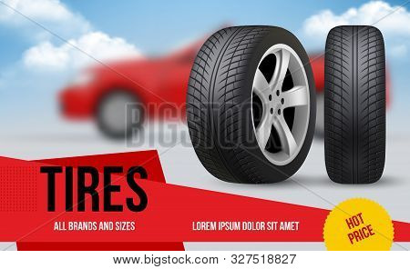 Wheel Ads. Brochure Template With Car Wheels Automobile Item Discount For Repair Vector Tyres Pictur