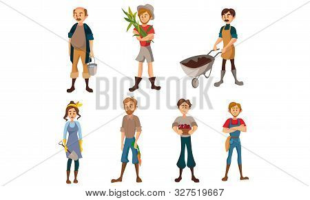 Male And Female Farmers With A Crop. Vector Illustration.
