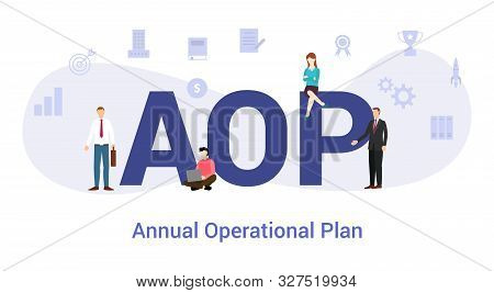 Aop Annual Operational Plan Concept With Big Word Or Text And Team People With Modern Flat Style - V