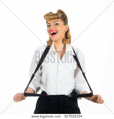 Girl At A Fashion Show. Geometry. Style. Trapeze In Clothes. Fashionable Suspenders For Trousers. Bu