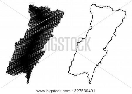 Mount Lebanon Governorate (lebanese Republic, Governorates Of Lebanon) Map Vector Illustration, Scri