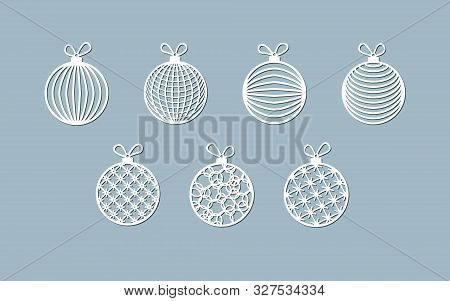 Lasercut Ball Toy Modern Pattern Of Lines Stripes Christmas Theme Design Element Of A Lasercut Chris