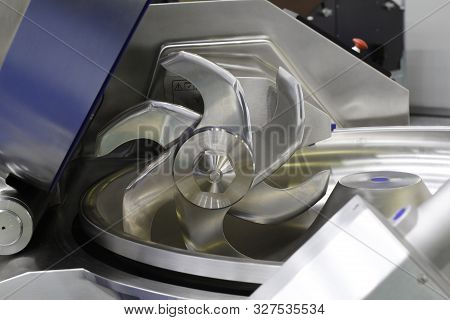 Cutter For Chopping Meat At A Meat Processing Plant. Industrial Cutter At The Factory Where Sausages