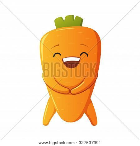 Carrot Character. Kawaii Laugh Carrot. Vector Isolated On White Background