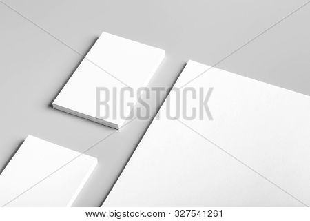 Photo. Template for branding identity. For graphic designers presentations and portfolios. Identity Mock-up isolated on gray background. Identity set mock-up. Photo mock up.
