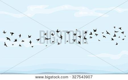 Flock Of Flying Birds Vector Illustration In Cartoon Style.
