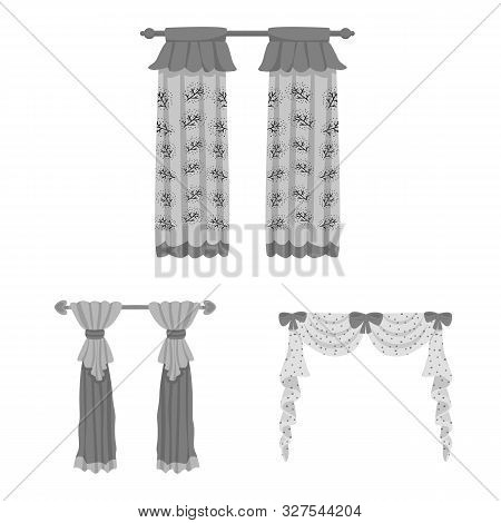 Vector Design Of Interior And Cornice Sign. Collection Of Interior And Drapes Stock Symbol For Web.