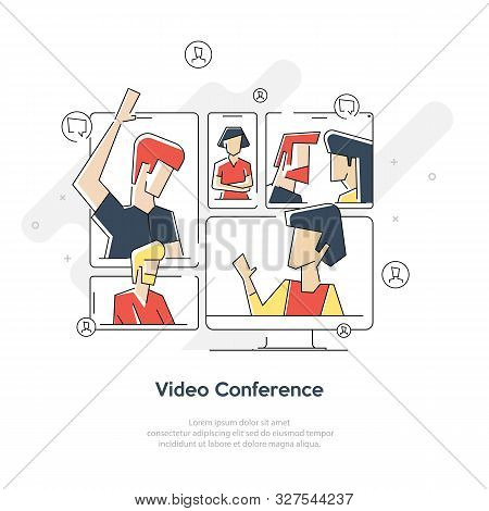 Video Meeting Online Vector. Woman And Chat. Ceo And Employees. Business Meeting, Consultation, Conf
