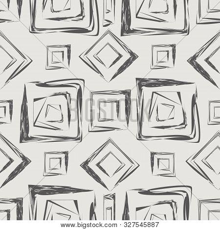 Dark Brown Calligraphic Angular Brush Style Squares Design. Seamless Geometric Vector Pattern On Lig