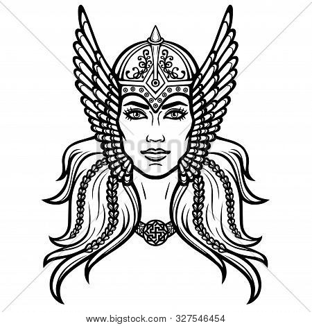 Portrait Of The Beautiful Young Woman Valkyrie. Pagan Goddess, Mythical Character. Linear Black The