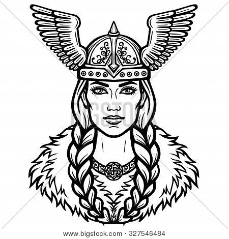 Portrait Of The Beautiful Young Woman Valkyrie In A Winged Helmet. Pagan Goddess, Mythical Character