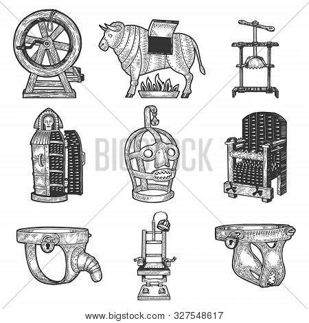 Medieval Torture Device Set Sketch Engraving Vector Illustration. T-shirt Apparel Print Design. Scra
