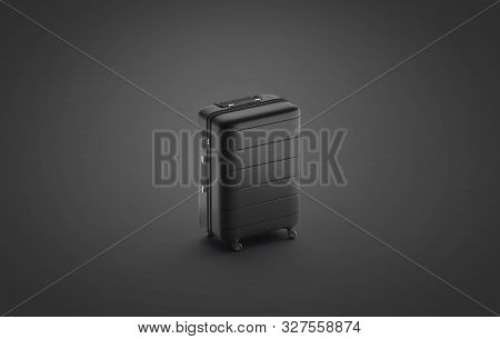 Blank Black Suitcase Mock Up Stand Isolated On Darkness Background, 3d Rendering. Empty Carpetbag Wi