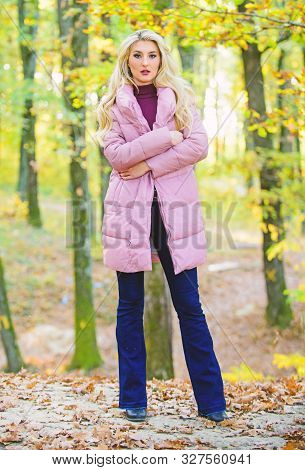 How To Rock Puffer Jacket Like Star. Fall Fashion Concept. Outfit Prove Puffer Coat Can Look Stylish