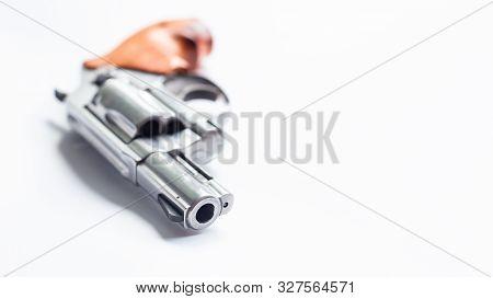 .357 .44 Magnum Conceal Revolver Gun On White Bckground, Crime Concept