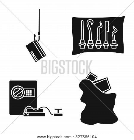 Vector Design Of Robber And Villain Logo. Set Of Robber And Police Stock Vector Illustration.