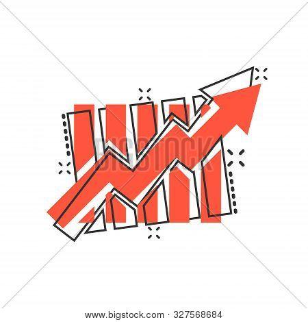 Growing Bar Graph Icon In Comic Style. Increase Arrow Vector Cartoon Illustration Pictogram. Infogra