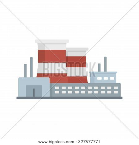 Power Refinery Plant Icon. Flat Illustration Of Power Refinery Plant Vector Icon For Web Design