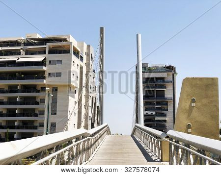 Rishon Le Zion, Israel  October 07, 2019: Residential Buildings And Bridge  In Rishon Le Zion, Israe