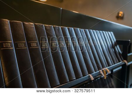 Porvoo, Finland - 2 October 2019: Closeup Of A Row Of Green Hymn Books On Finnish Language In Porvoo
