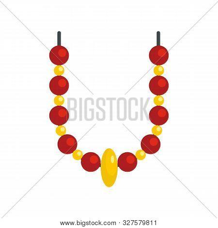 Magic Fortune Necklace Icon. Flat Illustration Of Magic Fortune Necklace Vector Icon For Web Design