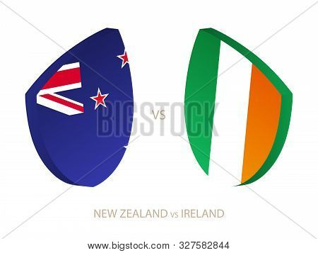 New Zealand V Ireland, Icon For Rugby Tournament. Rugby Vector Icon.