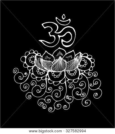 Black And White Loblack And White Lotus Illustration. Pattern, Om And Flowertus Illustration. Patter