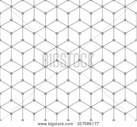 Silver Outline Geometric Square Pattern With Dots. Seamless Pattern Included In Swatch. Vector Seaml