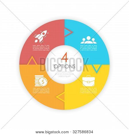 Vector Circle Chart Infographic Template With Arrow For Cycle Diagram, Graph And Web Design. Busines