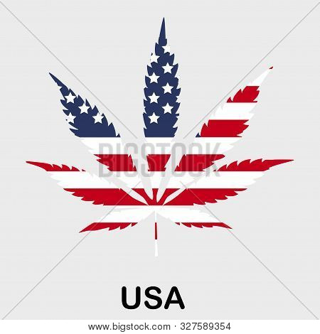Flag In The Form Of A Cannabis Leaf. The Concept Of Legalization Of Marijuana, Cannabis In The Usa