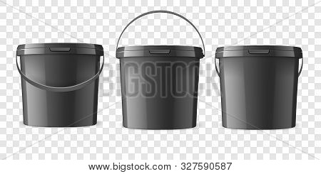 Vector Realistic 3d Black Plastic Bucket For Food Products, Paint, Foodstuff, Adhesives, Sealants, P