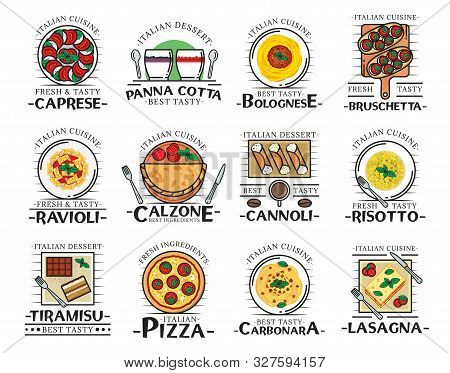 Italian Food Thin Line Icons Of Restaurant, Cafe And Pizzeria Vector Design. Pizza, Pasta And Spaghe