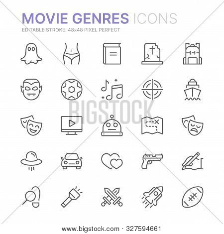 Collection Of Movie Genres Related Line Icons. 48x48 Pixel Perfect. Editable Stroke