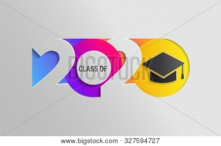 Happy Class Of 2020, Graduation Insta Colour Banner In Paper Style For Your Posters, Flyers, Greetin