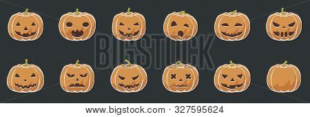Pumpkin Smile Icons For Halloween Scary And Creepy Autumn Vector Illustration In Simple Flat Toon Dr