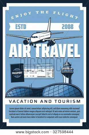 Air Travel Plane And Airport, Airline Flight Tickets, Boarding Pass And Passenger Passport Vector De