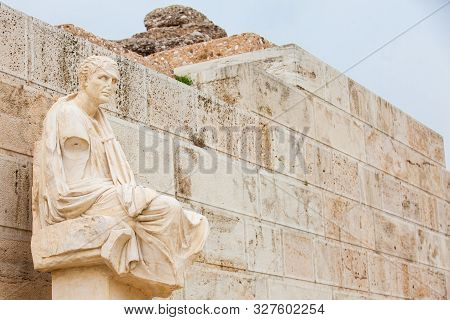 The Statue Of The Dramatist Menander At The Theatre Of Dionysus Eleuthereus The Major Theatre In Ath