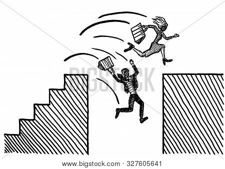 Freehand Pen Drawing Of Business Woman Leaping Across Ravine. Male Rival Is Falling Into Abyss. Meta
