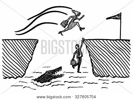 Freehand Pen Drawing Of Business Woman Jumping Across Crocodile Ravine Towards Goal, While Male Riva