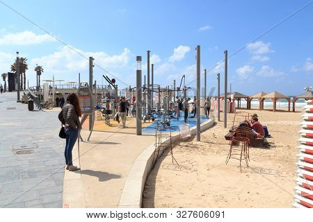 Tel Aviv, Israel - March 17, 2019: Gym At The Beach Next To Mediterranean Sea. Sport In Israel Plays