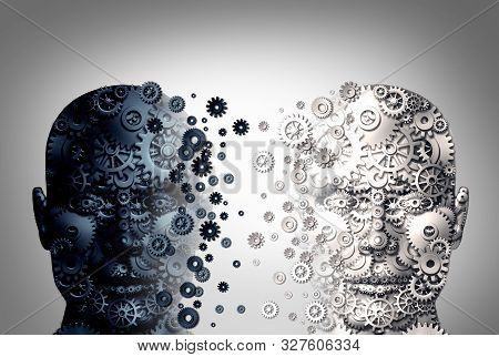 Bipolar Brain Disorder And Mental Health Function Concept As A Human Head Divided In Two Colors As A