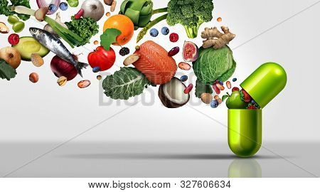 Nutritional Supplement And Vitamin Supplements As A Capsule With Fruit Vegetables Nuts And Beans Ins