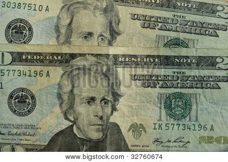 US dollar banknotes - twenty-dollar bill featuring President Andrew Jackson (1829-1837) on the front side poster