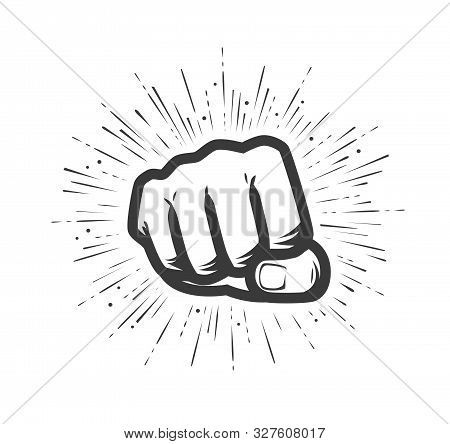 Clenched Fist. Gym Logo Or Label. Vector Illustration