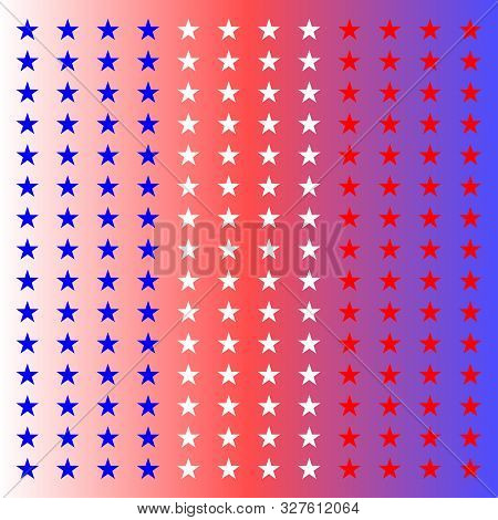 Star Background In National Colors. Blue, White, Red Stars. Vector