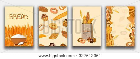 Set Of Banner With Bakery Products. Wheat, Rye And Whole Grain Bread. Pretzel And Bagel, Ciabatta An