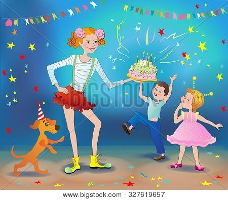 Festive Event. A Clown Treats A Girl And A Boy With A Cake. Fireworks, Stars, Flags On A Blue Backgr