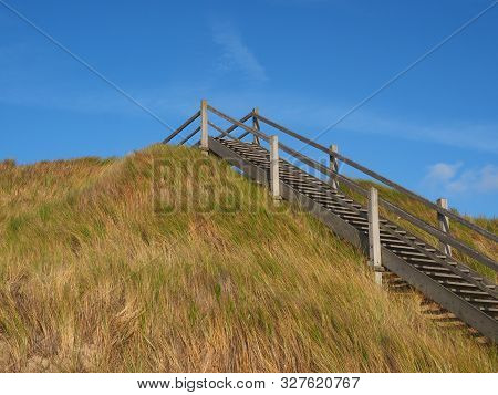 Dune And Timber Access Stairs Near Westkapelle, Zeeland, The Netherlands