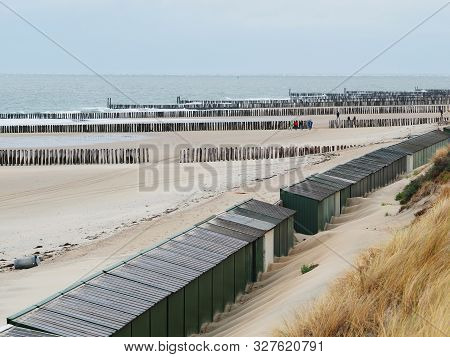 Dune, Bathing Huts And Beach Near Westkapelle, Zeeland, The Netherlands